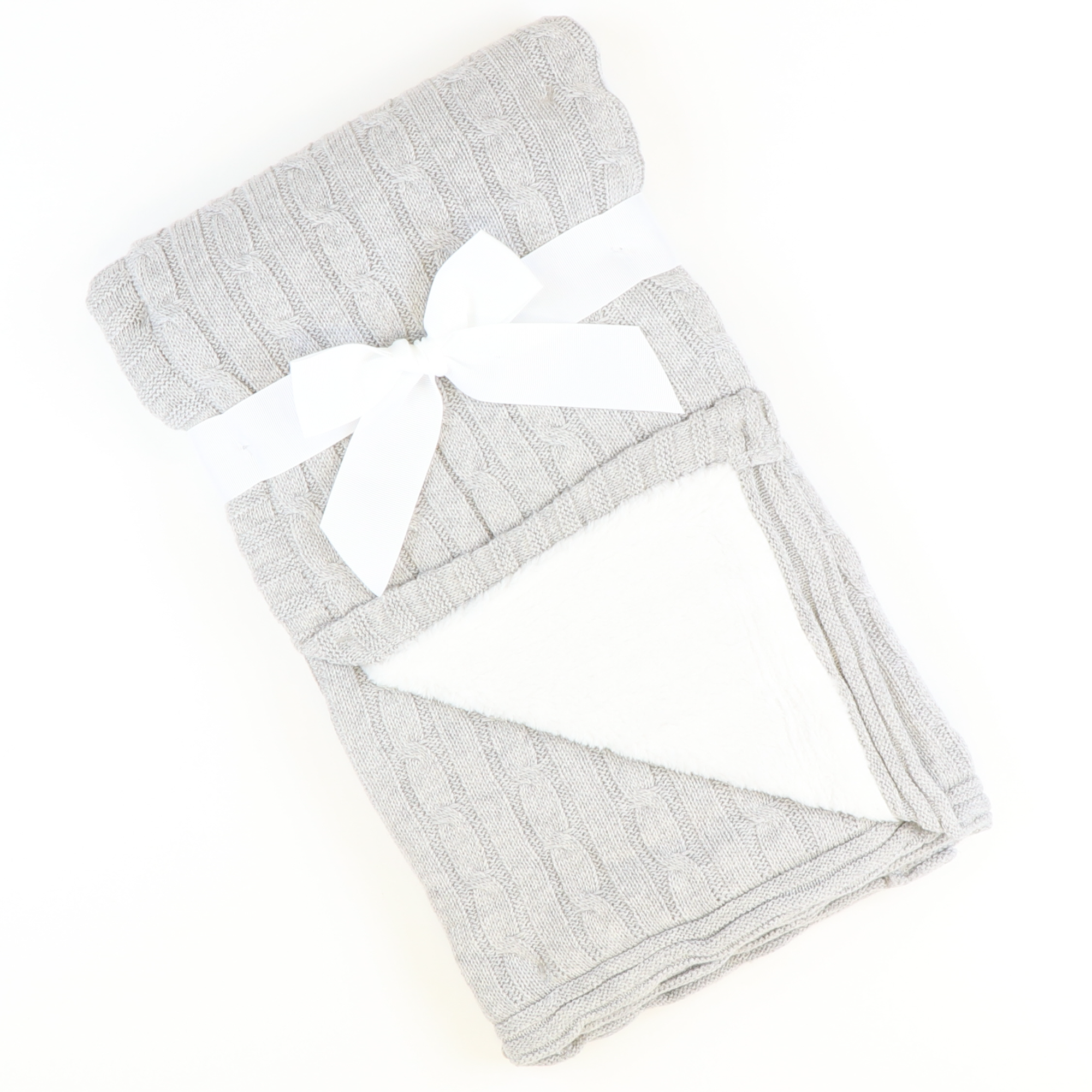Cable Knit Sherpa Blanket - Gray