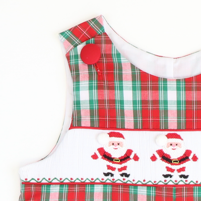 Smocked Santa Claus Longall - Red & Green Plaid