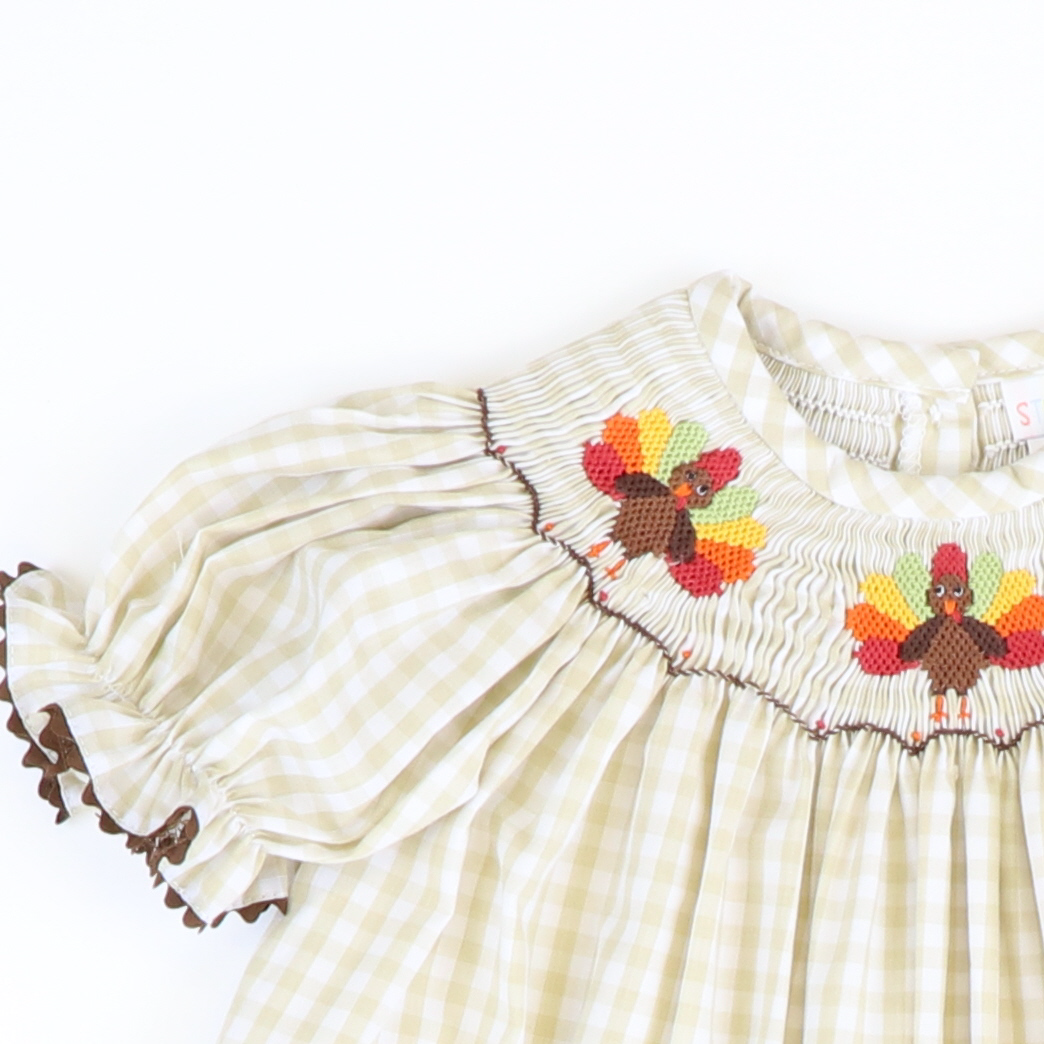 Smocked Turkeys Girl Long Bubble - Khaki Check
