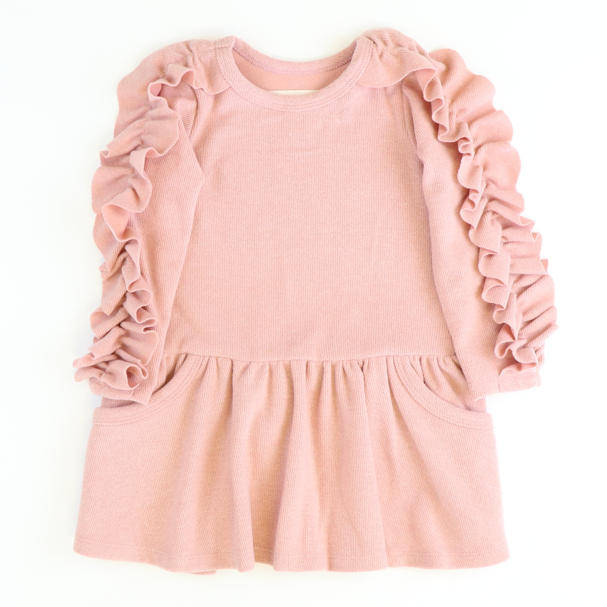 Blush Ruffle Sleeve Dress