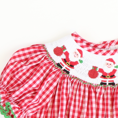 Smocked Here Comes Santa Bishop - Red & White Plaid