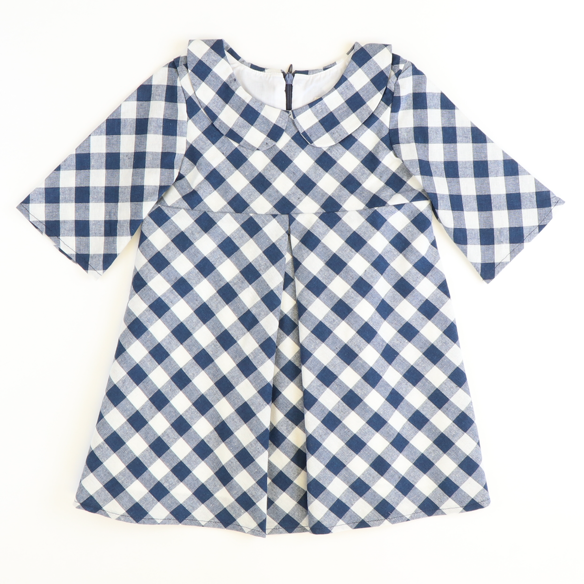 Navy Check Collared Dress