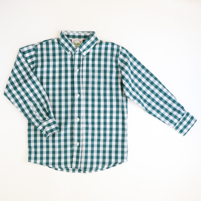 Classic Button Down Shirt - Dark Green Wide Check