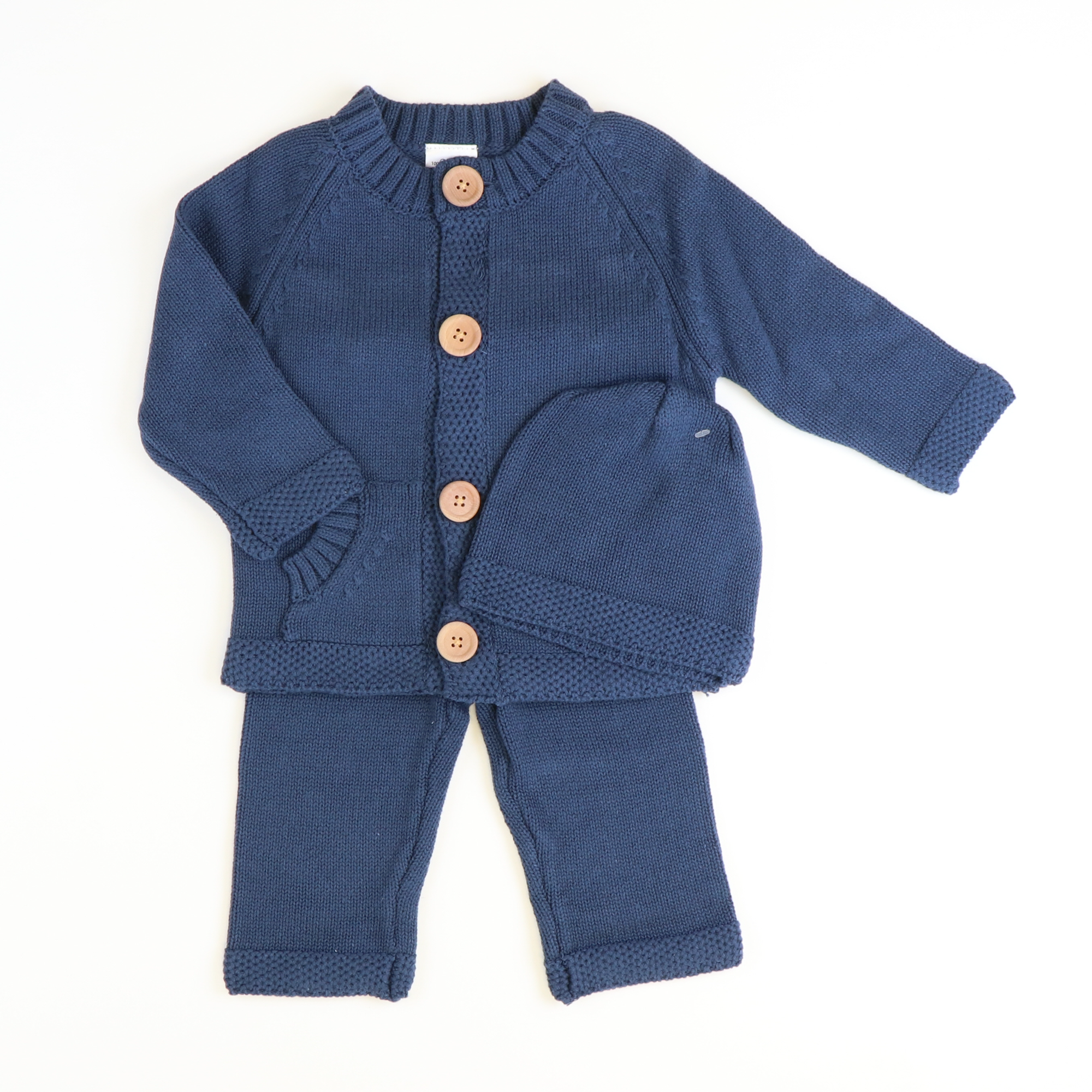 Navy Cardigan, Hat, & Pants Set
