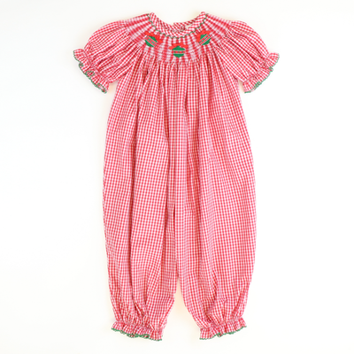 Smocked Ornaments Girl Long Bubble - Red Gingham Plaid