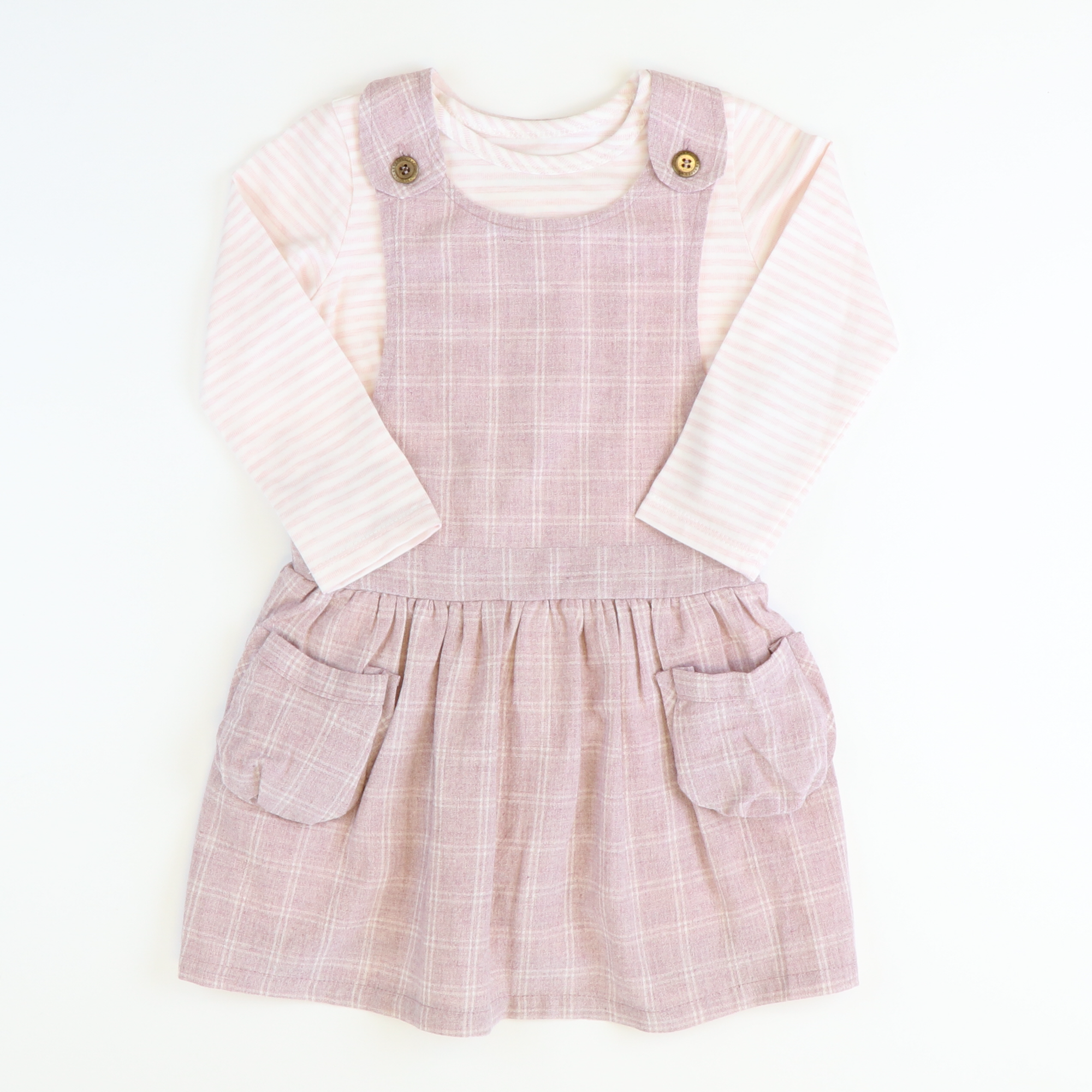 Mauve Windowpane Jumper & Blush Cream Stripe Top Set
