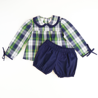 Berkshire Plaid Pleated Ruffle Collar Top & Bloomer Set