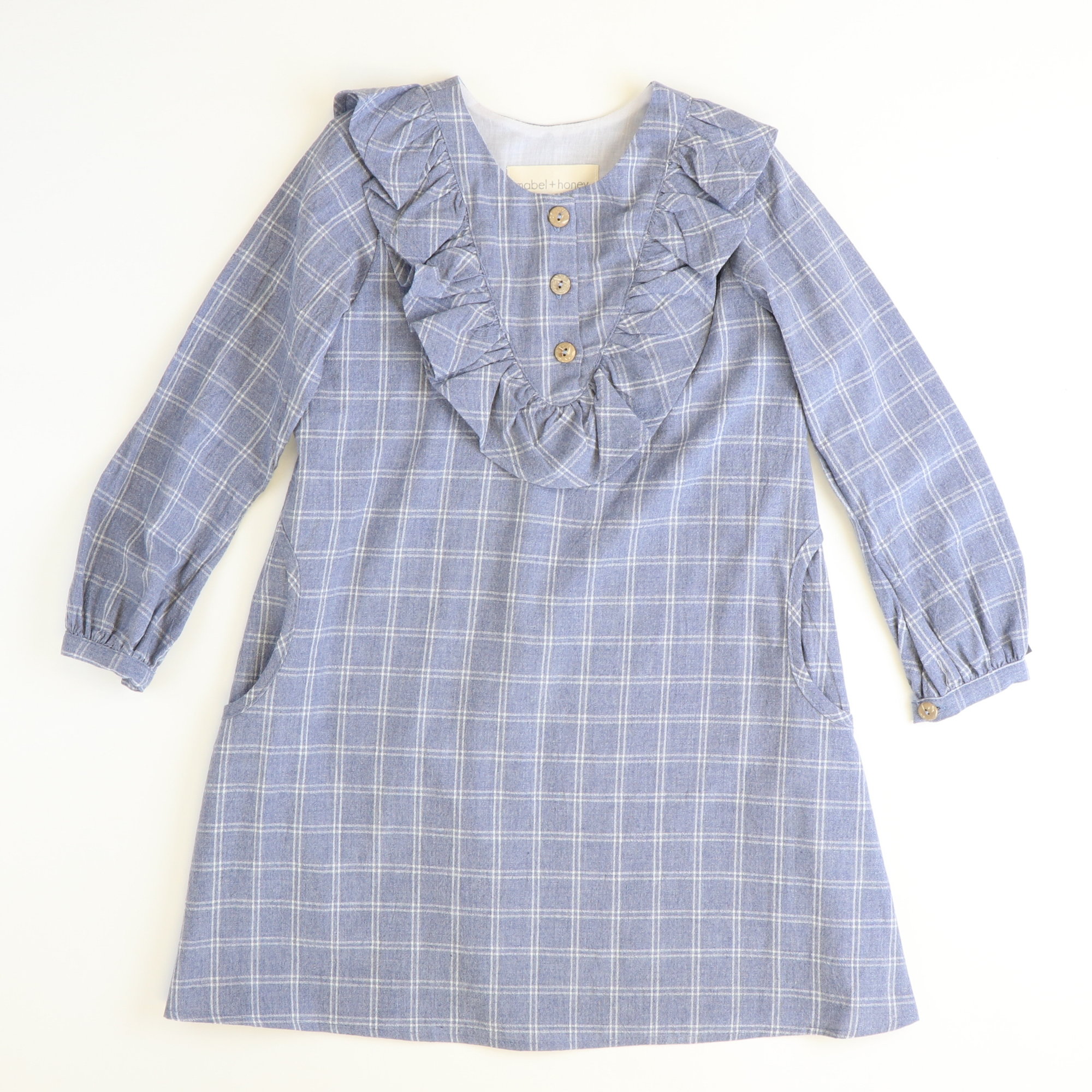 Vintage Blue Windowpane Ruffle Neck Dress