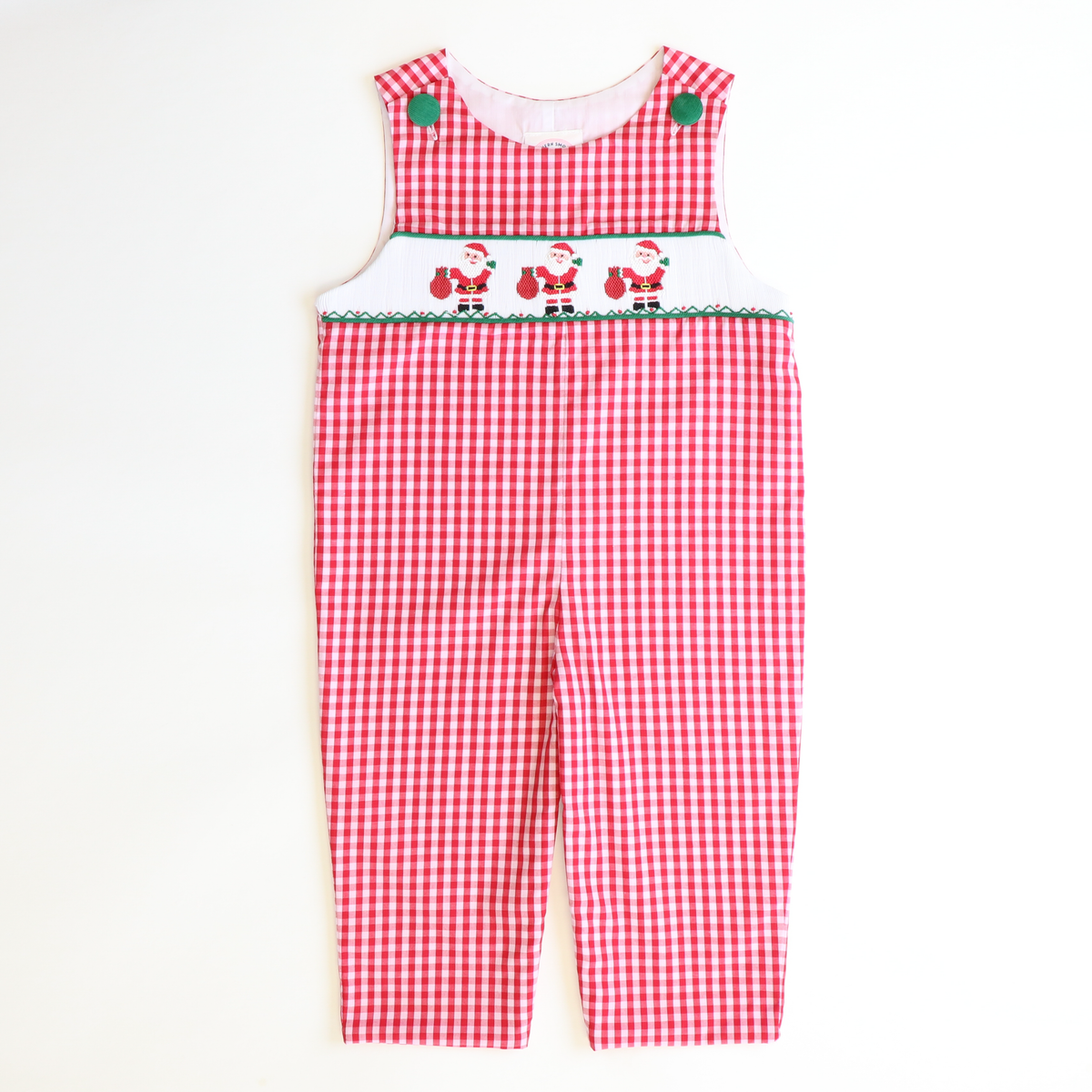 Smocked Here Comes Santa Longall - Red & White Plaid