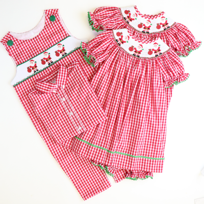Smocked Here Comes Santa Girl Long Bubble - Red & White Plaid