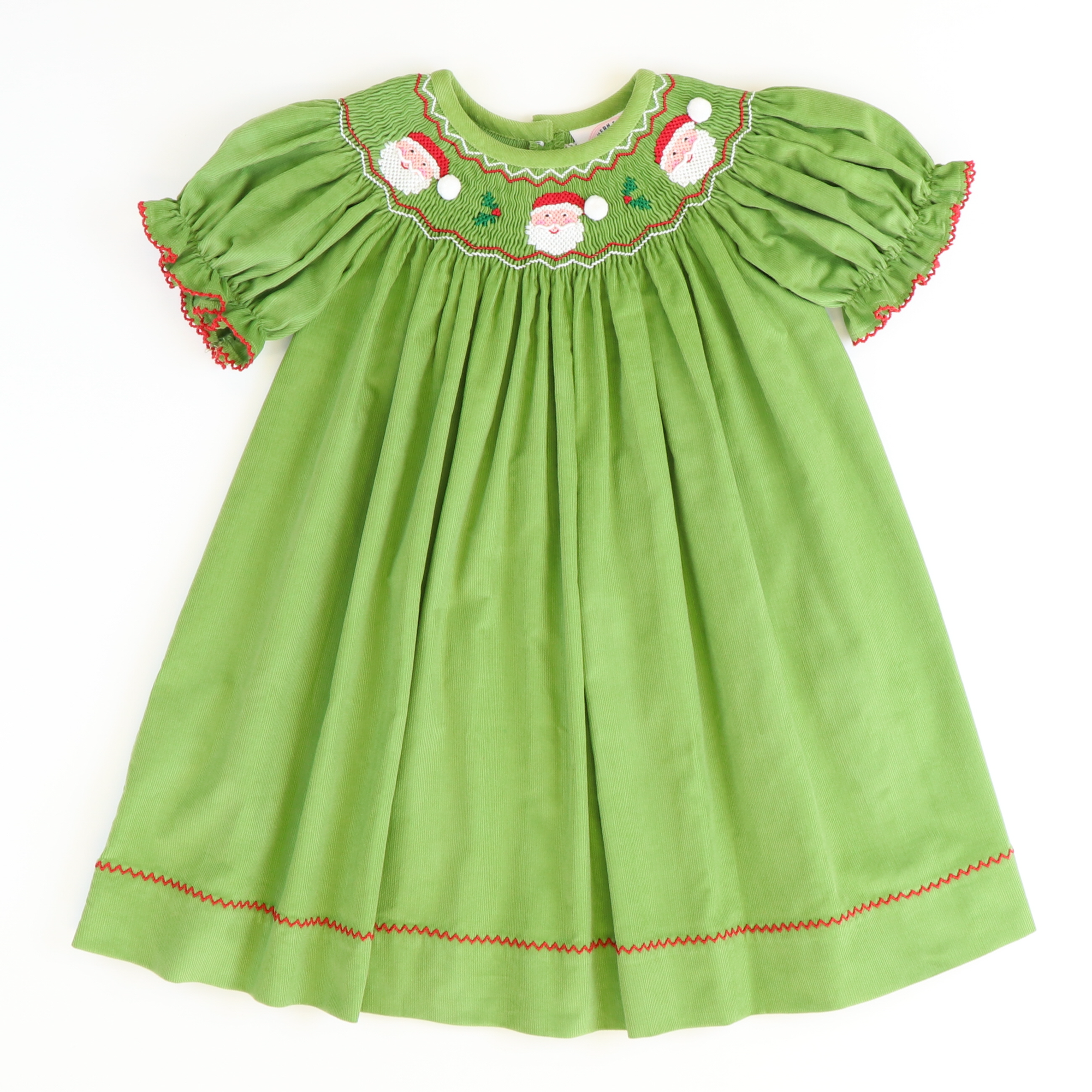 Smocked Holly Jolly Santa Bishop - Sage Green Corduroy