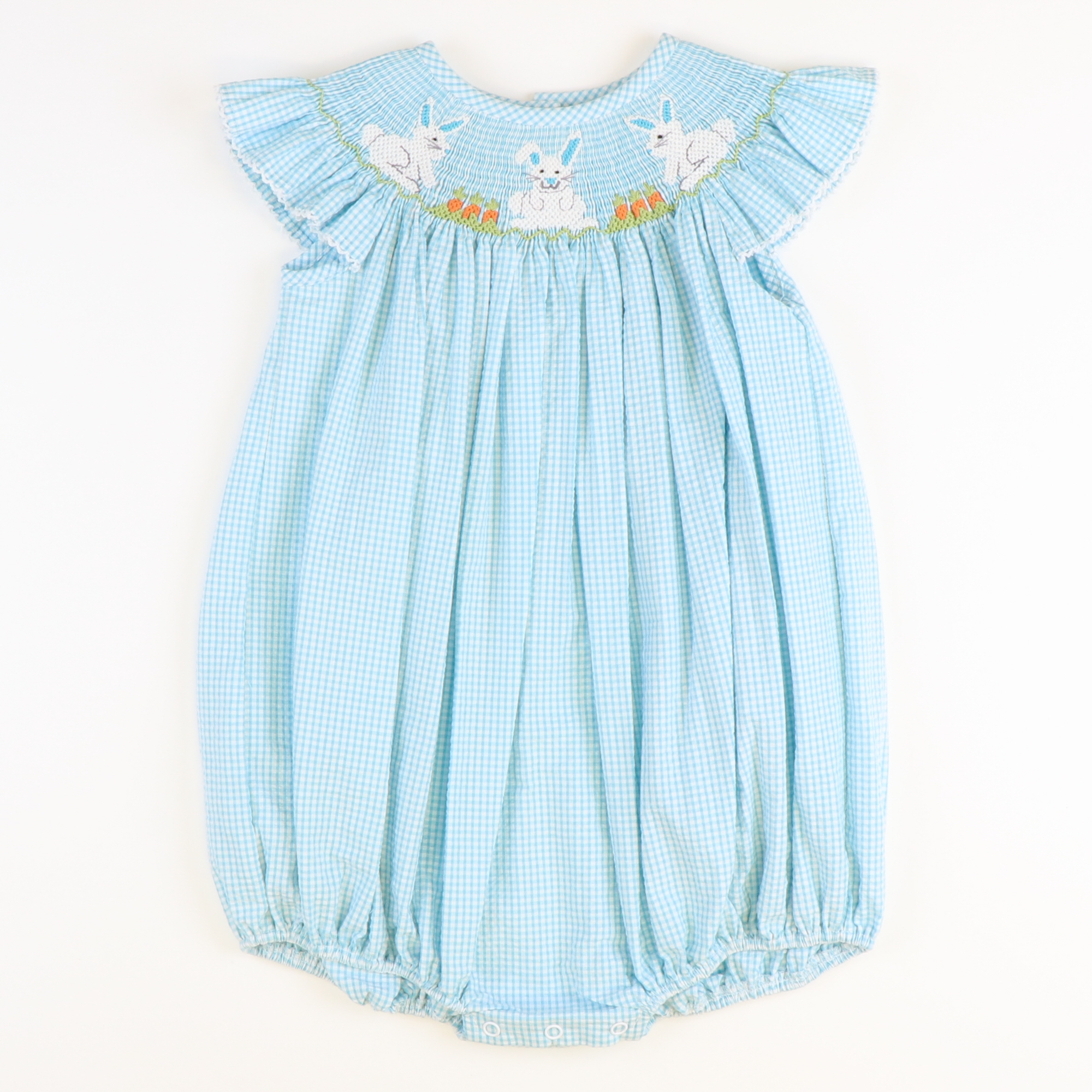 Smocked Garden Bunnies Girl Bubble - Turquoise Mini Check Seersucker