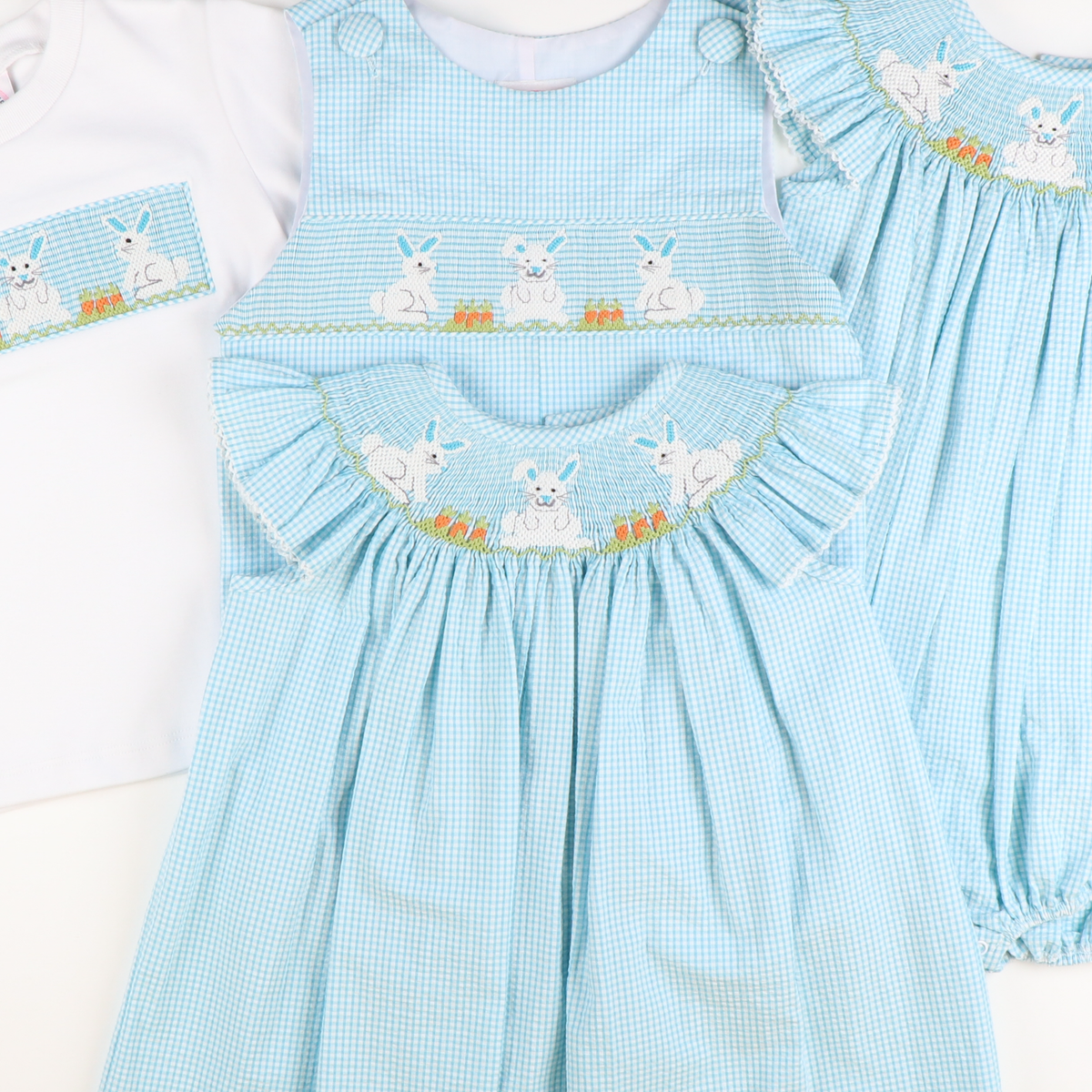 Smocked Garden Bunnies Shortall - Turquoise Mini Check Seersucker