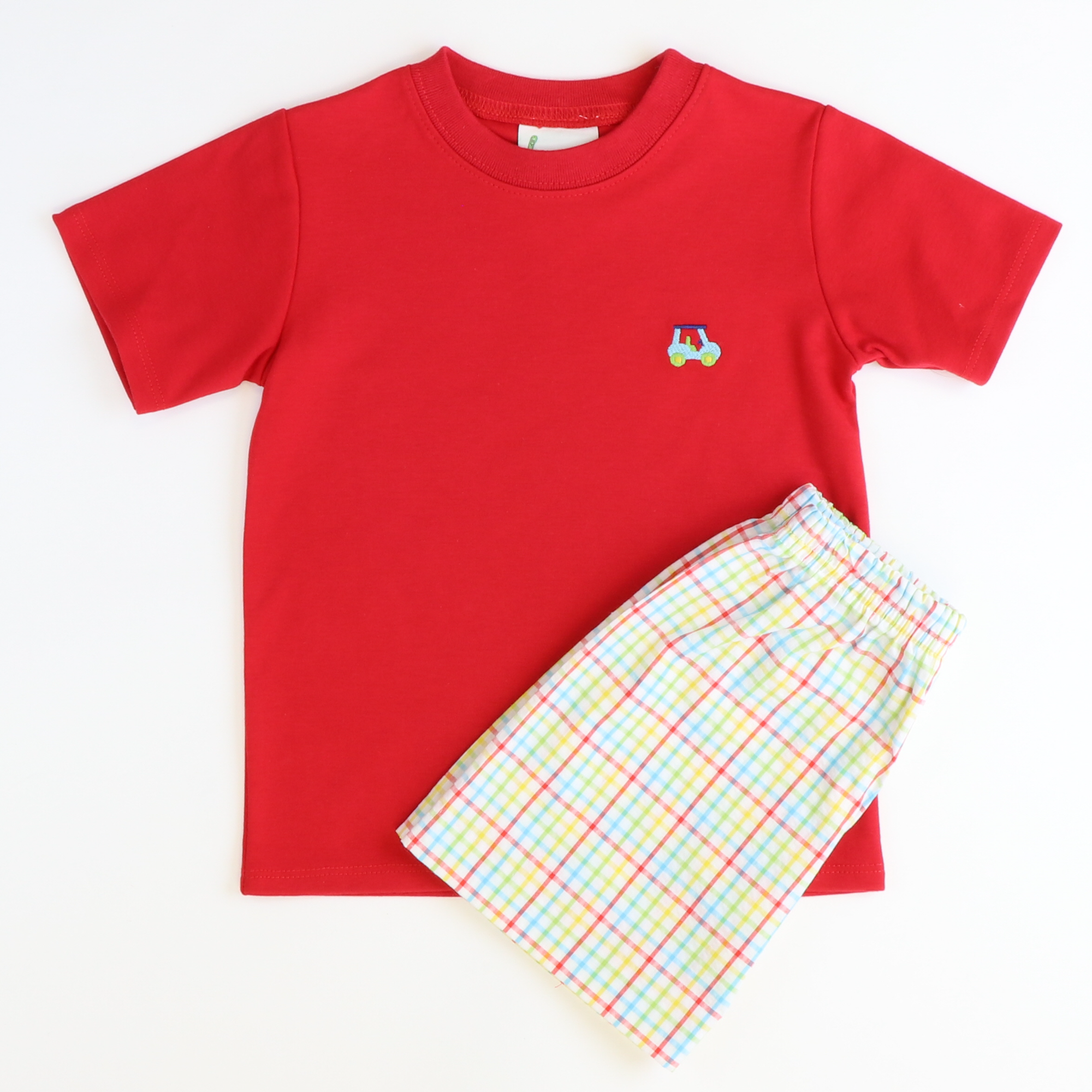 Embroidered Golf T-Shirt & Shorts Set - Red Knit