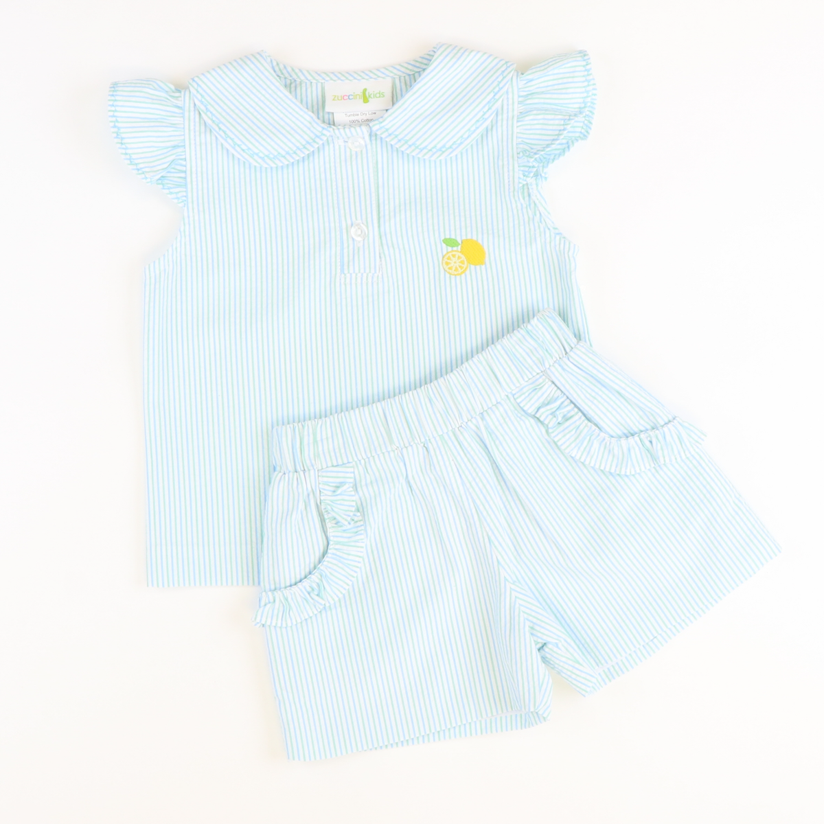 Embroidered Lemon Top & Shorts Set - Blue & Green Stripe Seersucker