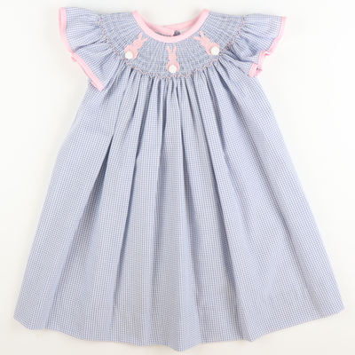 Smocked Cotton Tail Bunny Bishop - Blue Windowpane