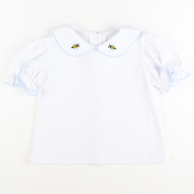 Embroidered Honey Bee Collared Knit Top