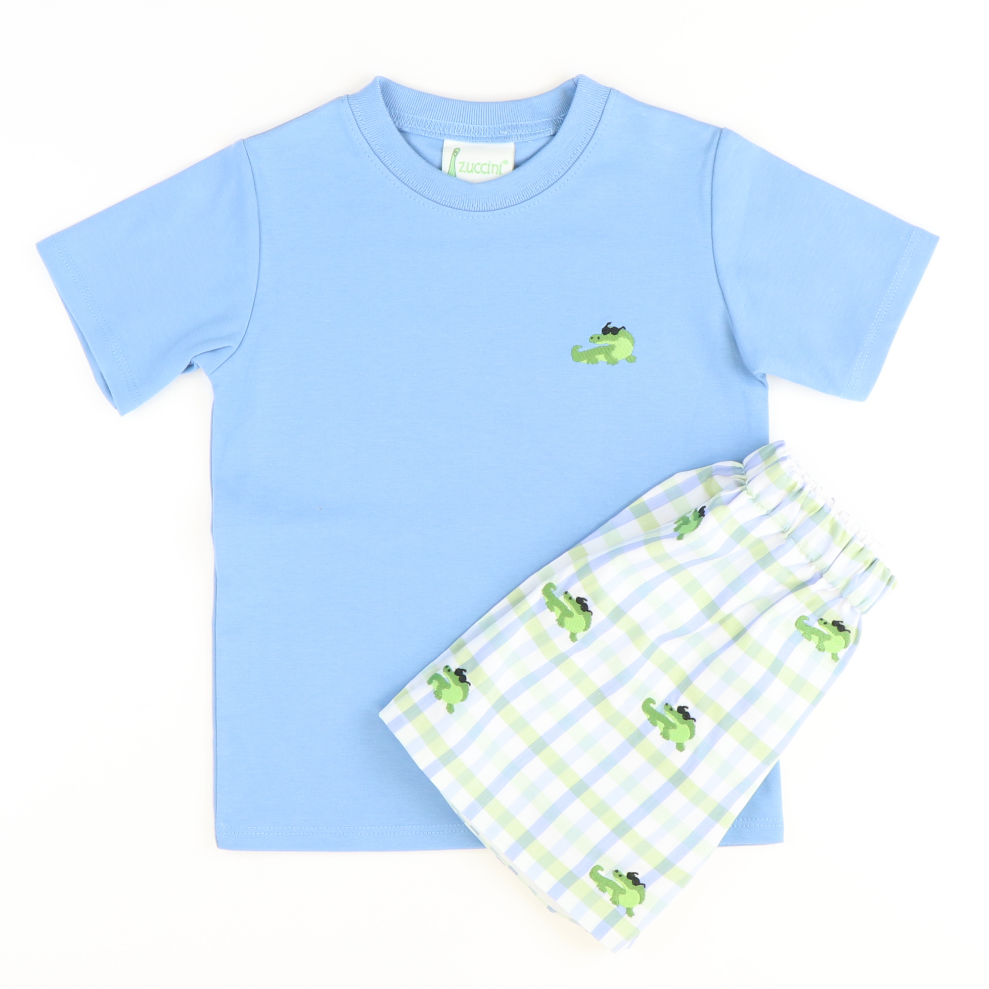 Embroidered Crocodile T-Shirt & Short Set