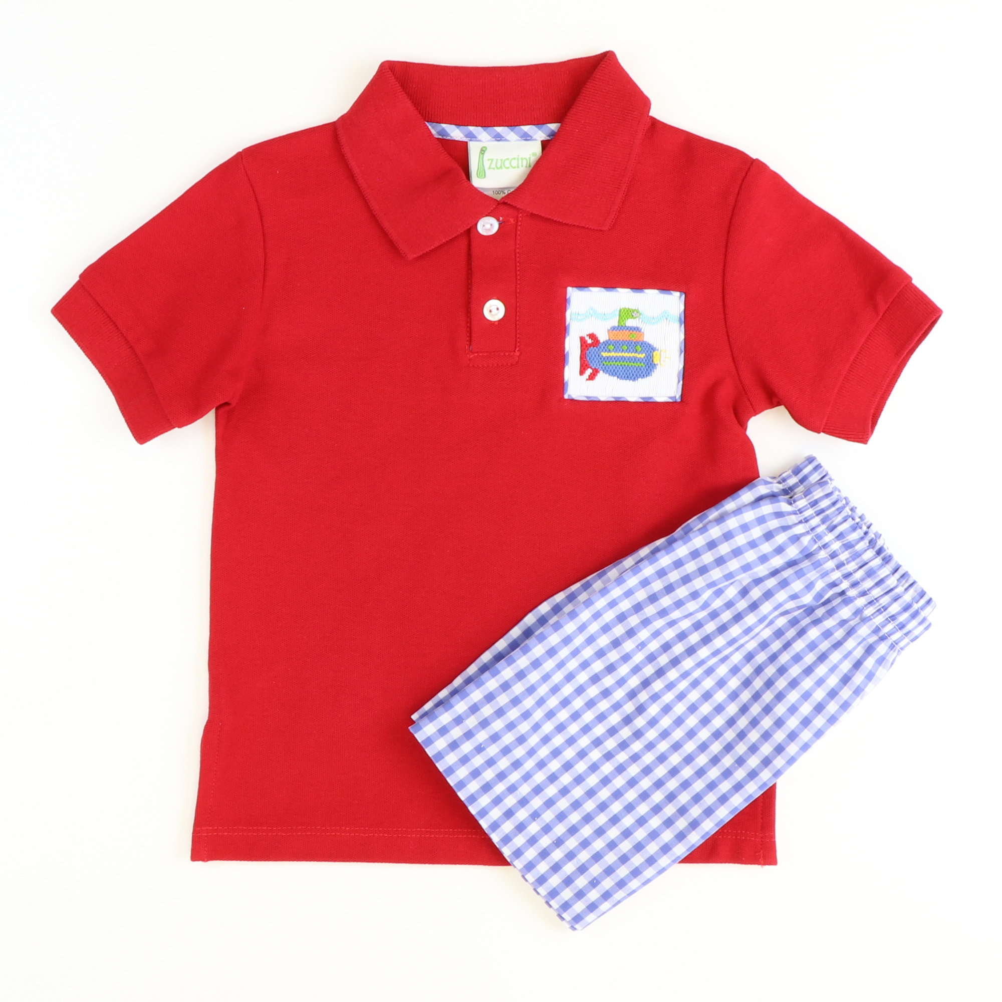 Smocked Submarine Polo Set - Red Pique