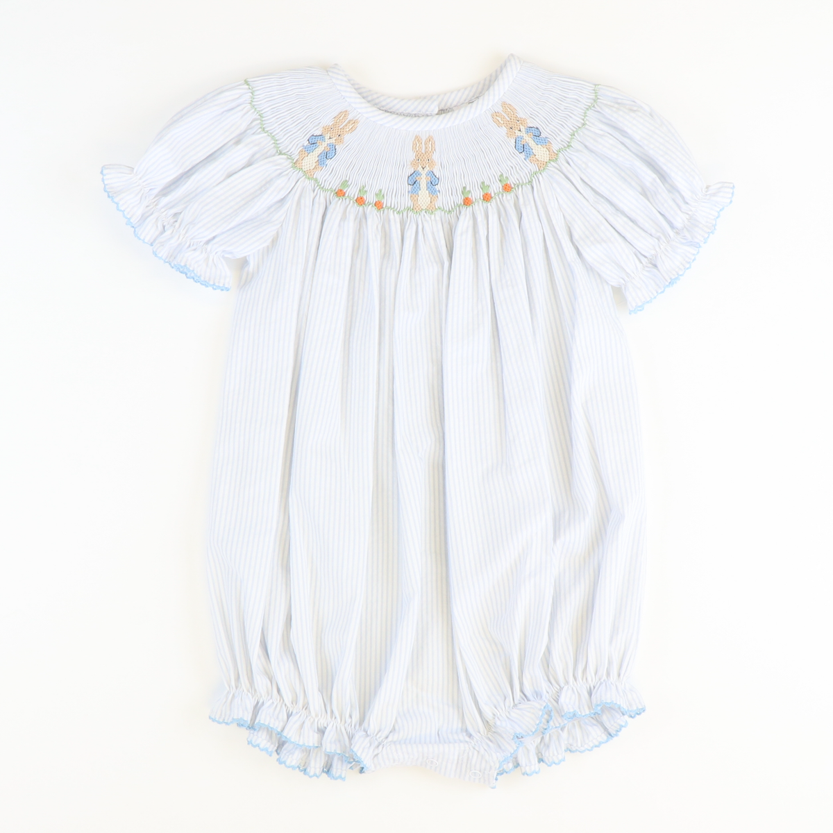 Smocked Storybook Rabbit Girl Bubble - Light Blue Stripe Seersucker
