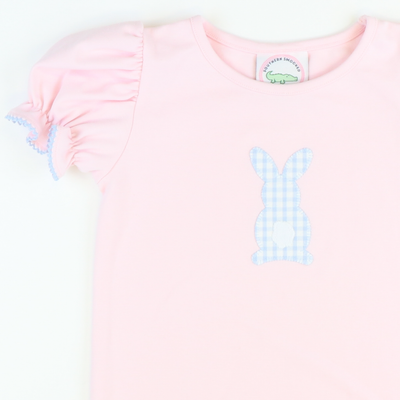 Appliqué Bunny Hop Girl Short Sleeve Top