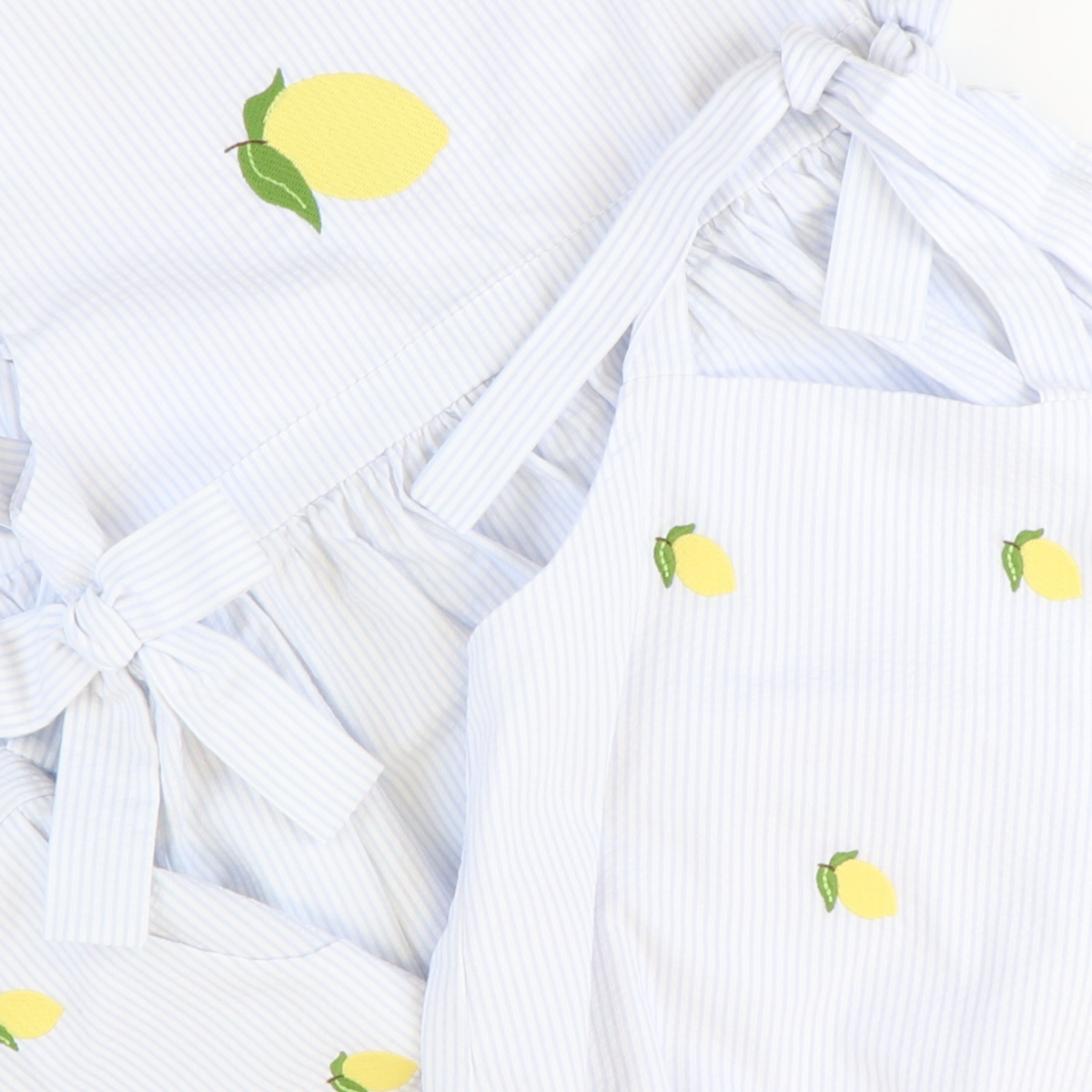 Embroidered Lemons Bow Bubble - Light Blue Stripe Seersucker