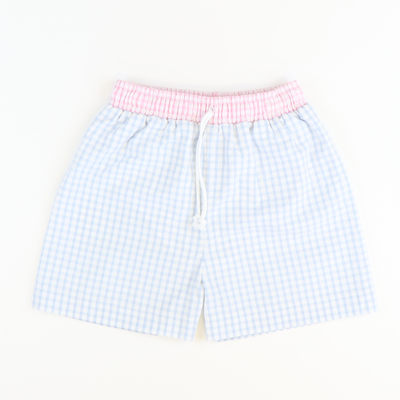 Signature Swim Trunks - Cloud & Light Pink Check Seersucker - Stellybelly