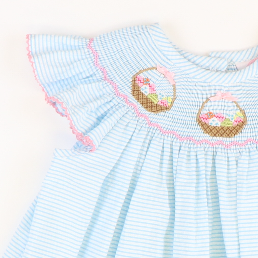 Smocked Easter Basket Girl Bubble - Turquoise Stripe Seersucker - Stellybelly