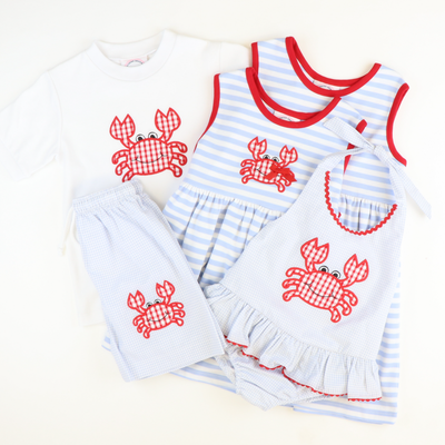Appliqué Crab Dress - Cloud Stripe Knit - Stellybelly