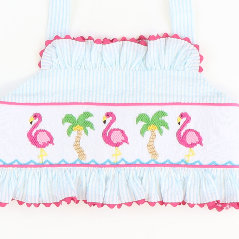 Smocked Flamingo & Palms Two-Piece Swimsuit - Turquoise Stripe Seersucker