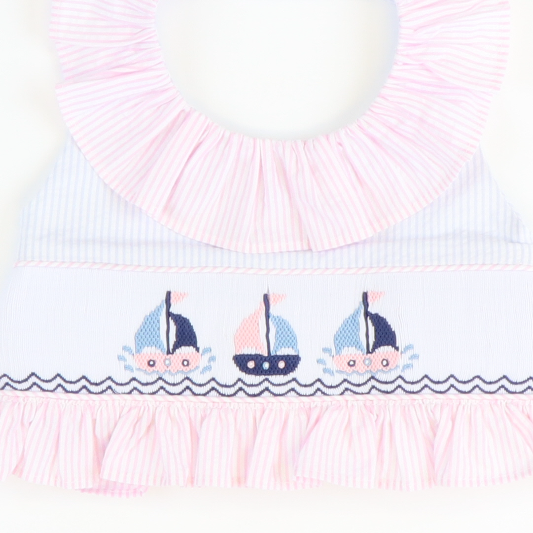 Smocked Sailboats Two-Piece Swimsuit - Light Blue Stripe Seersucker - Stellybelly
