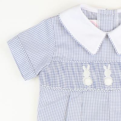 Smocked Cotton Tail Bunny Collared Boy Bubble - Blue Windowpane