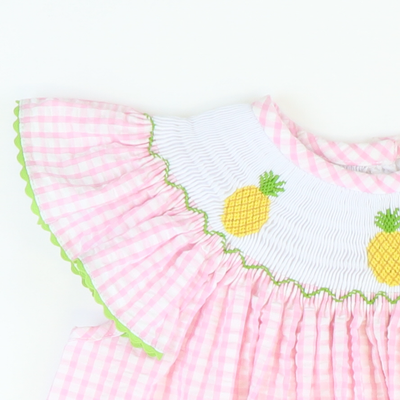 Smocked Pineapples Bishop - Pink Check Seersucker - Stellybelly