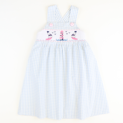 Smocked Sailboats & Lighthouse Sundress - Cloud Check Seersucker - Stellybelly