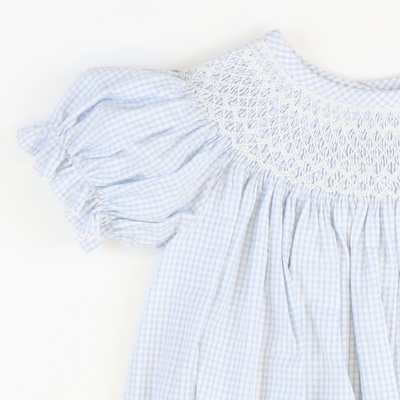 Smocked Geo Girl Bubble - Light Blue Mini Check Seersucker