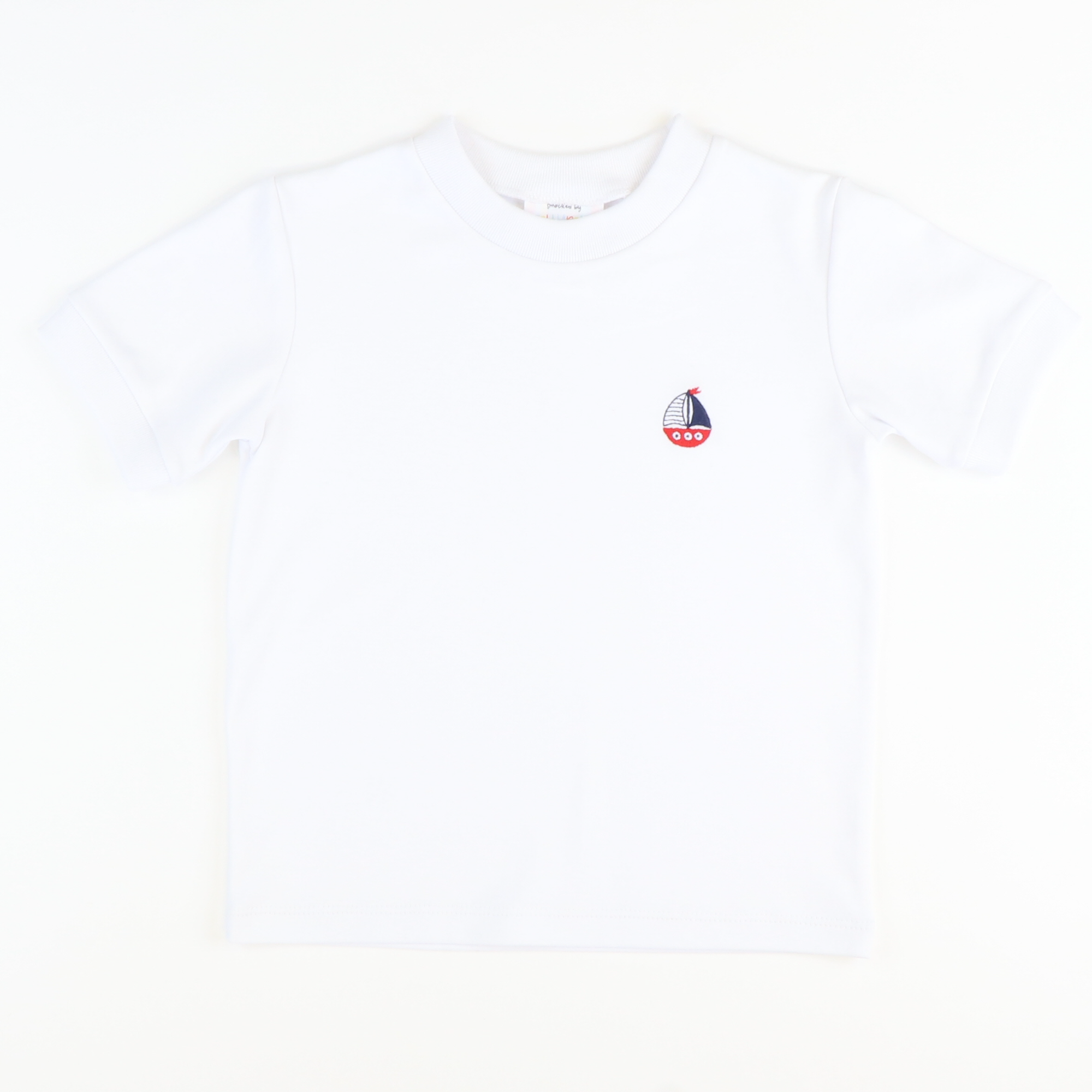 Embroidered Sailboat Short Sleeve White Knit Shirt