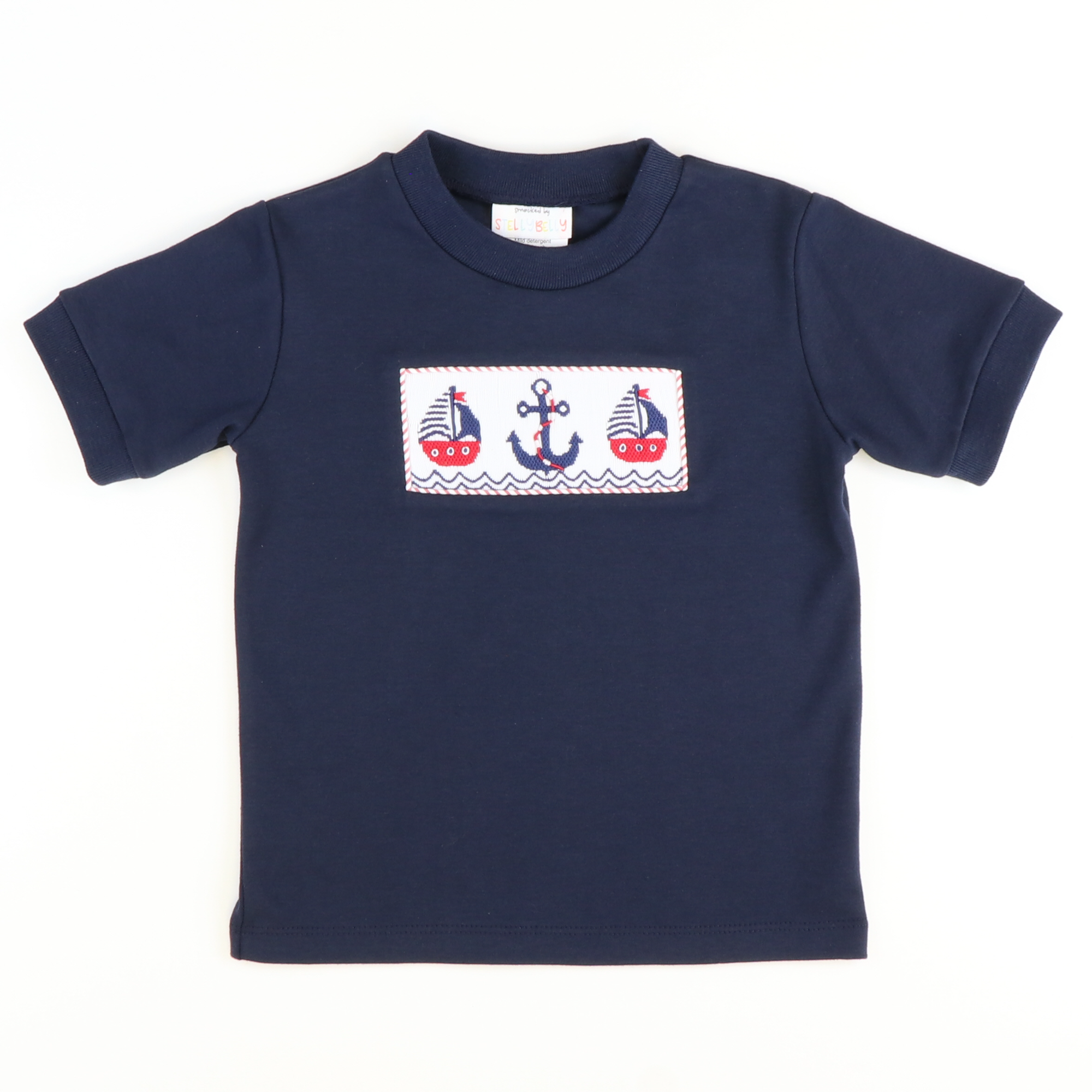 Smocked Sailboats & Anchor Short Sleeve Knit Shirt - Navy Blue