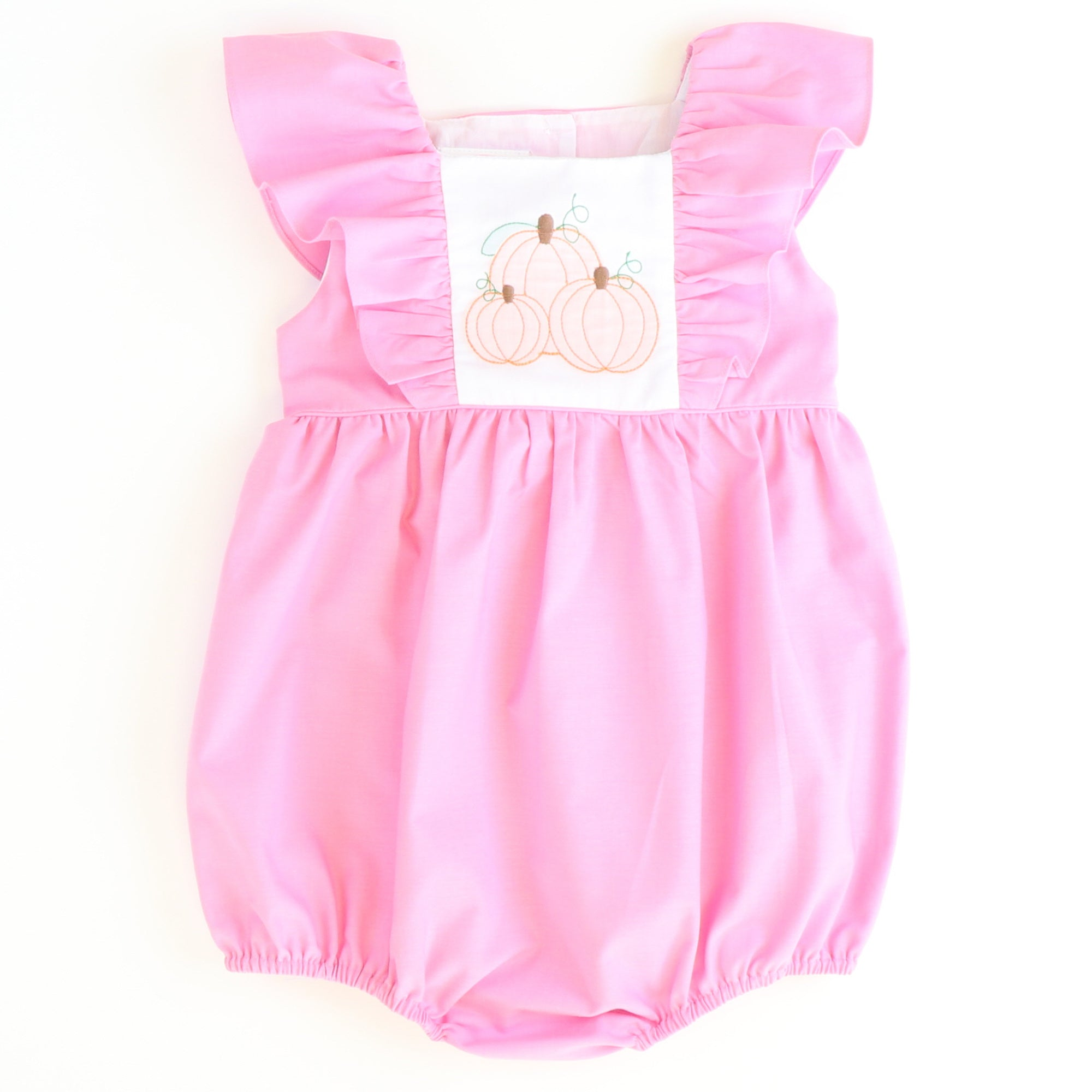 Shadow Stitch Pumpkin Pink Pinafore Bubble