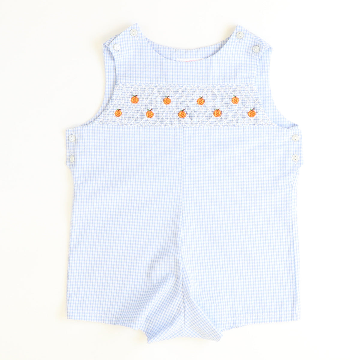 Smocked Tiny Pumpkins Shortall - Light Blue Mini Check Seersucker