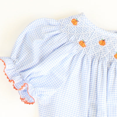 Smocked Tiny Pumpkins Bubble - Light Blue Mini Check Seersucker