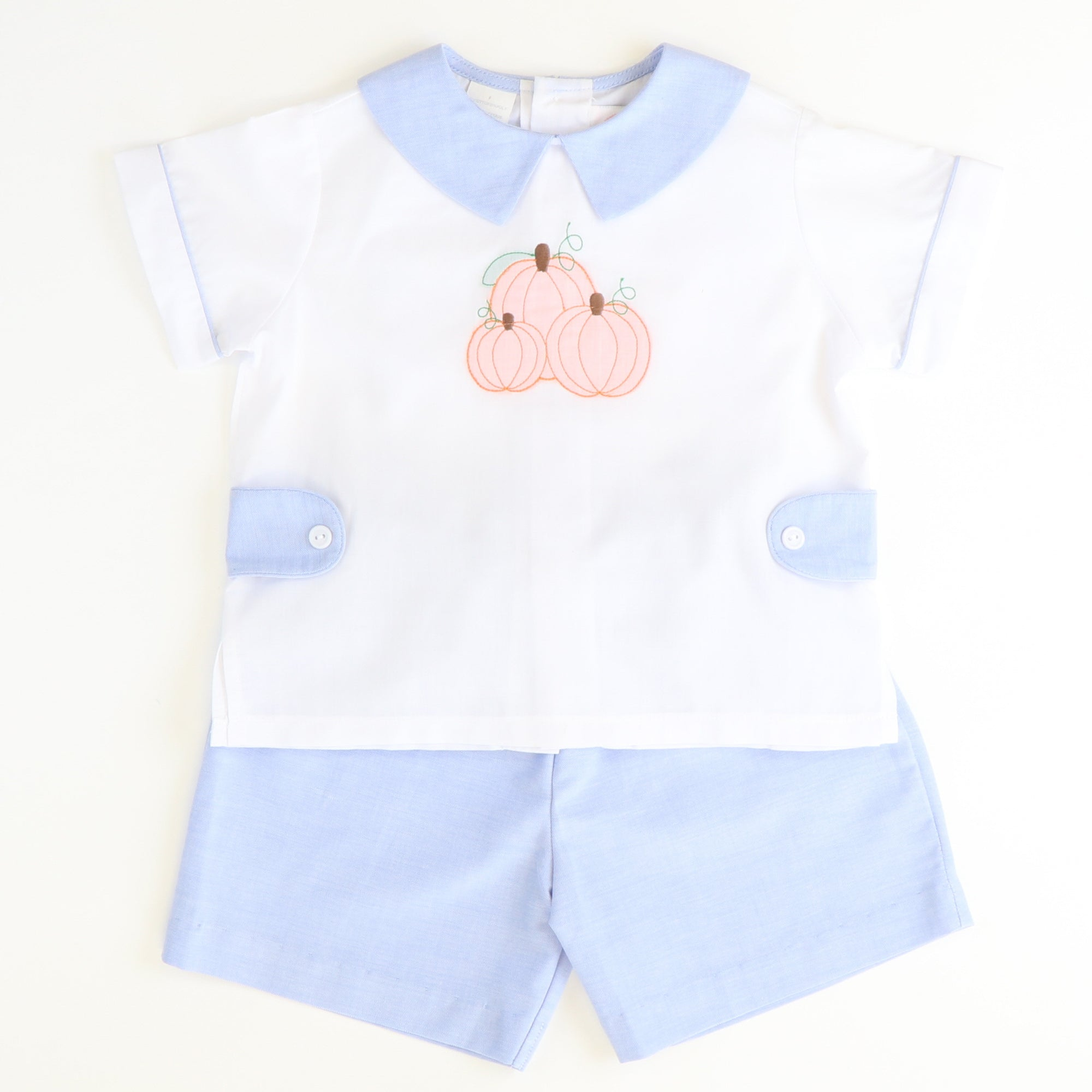 Shadow Stitch Pumpkin Chambray Collared Short Set