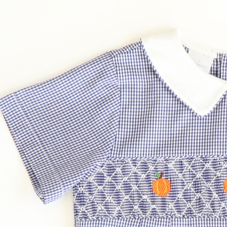Smocked Geo Pumpkins Boy Collared Bubble - Navy Blue Mini Check