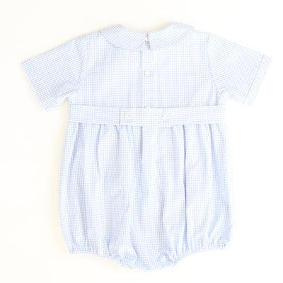Smocked Tiny Pumpkins Boy Bubble - Light Blue Mini Check Seersucker