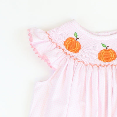 Smocked Pumpkins Bishop - Light Pink Dot