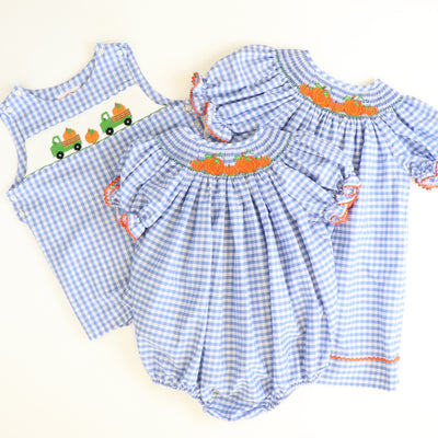 Smocked Pumpkin Patch Bubble - Blue Check