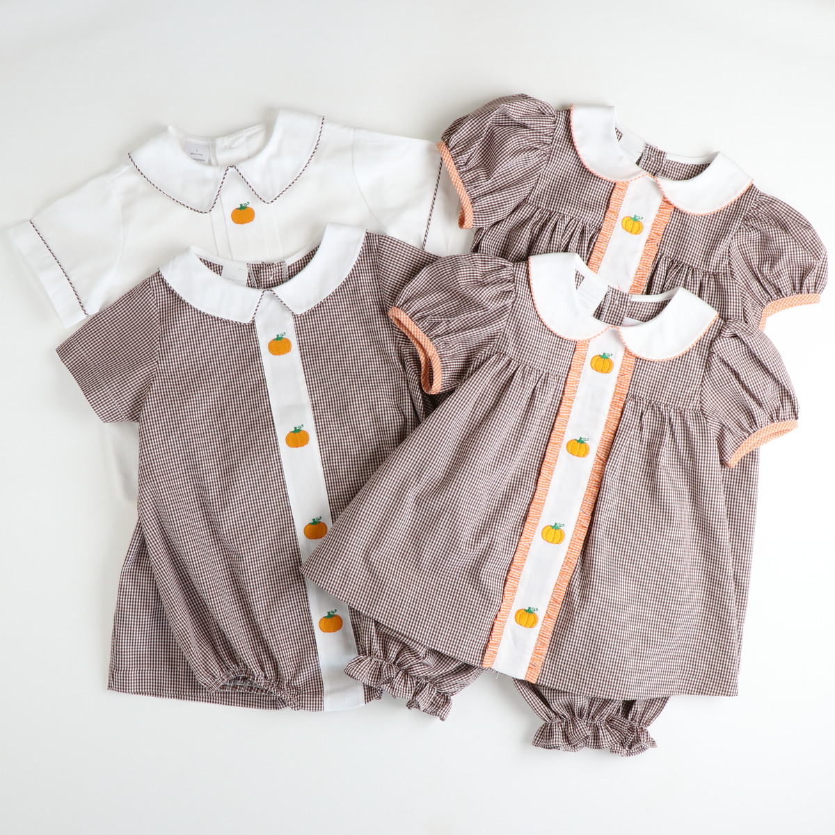 Embroidered Pumpkin Collared Short Set - Brown Gingham