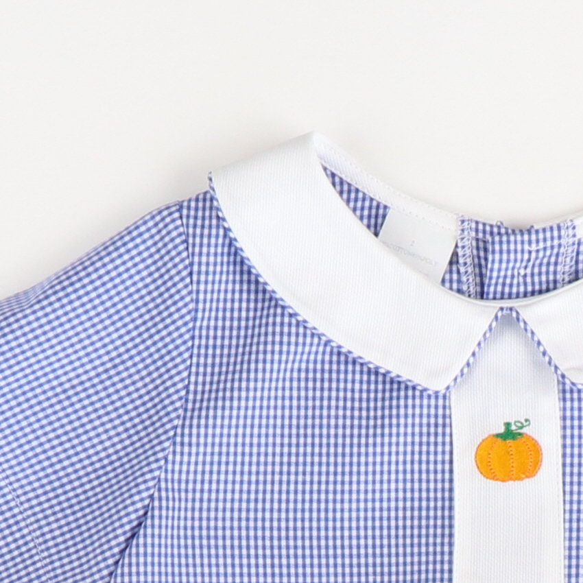 Embroidered Pumpkins Boy Collared Bubble - Blue Check