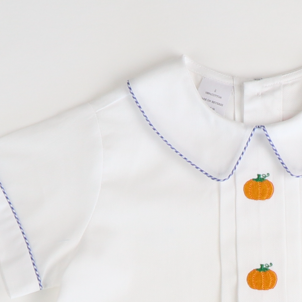 Embroidered Pumpkin Collared Short Set - Blue Check