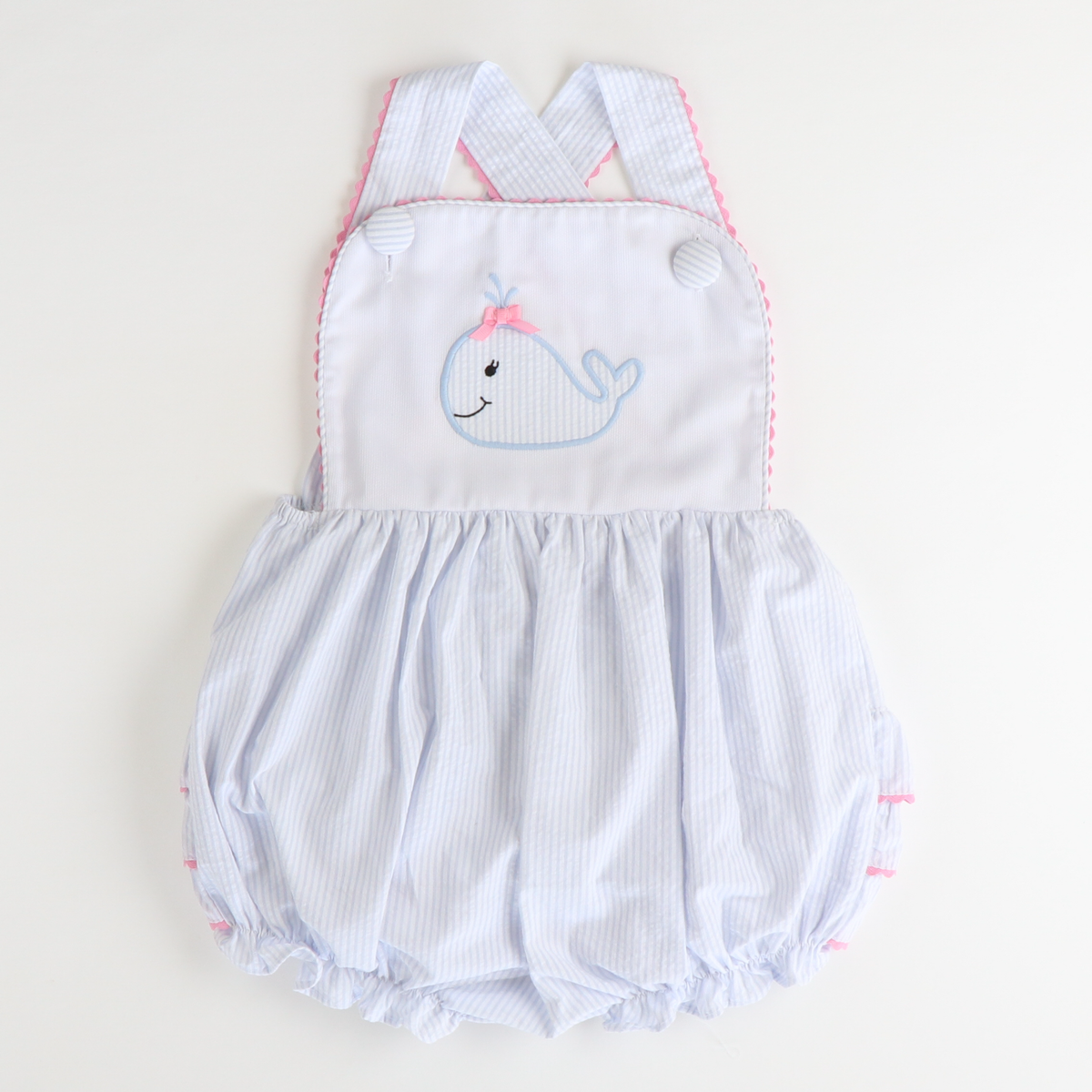 Appliqué Whale Bubble - Light Blue Stripe Seersucker - Stellybelly