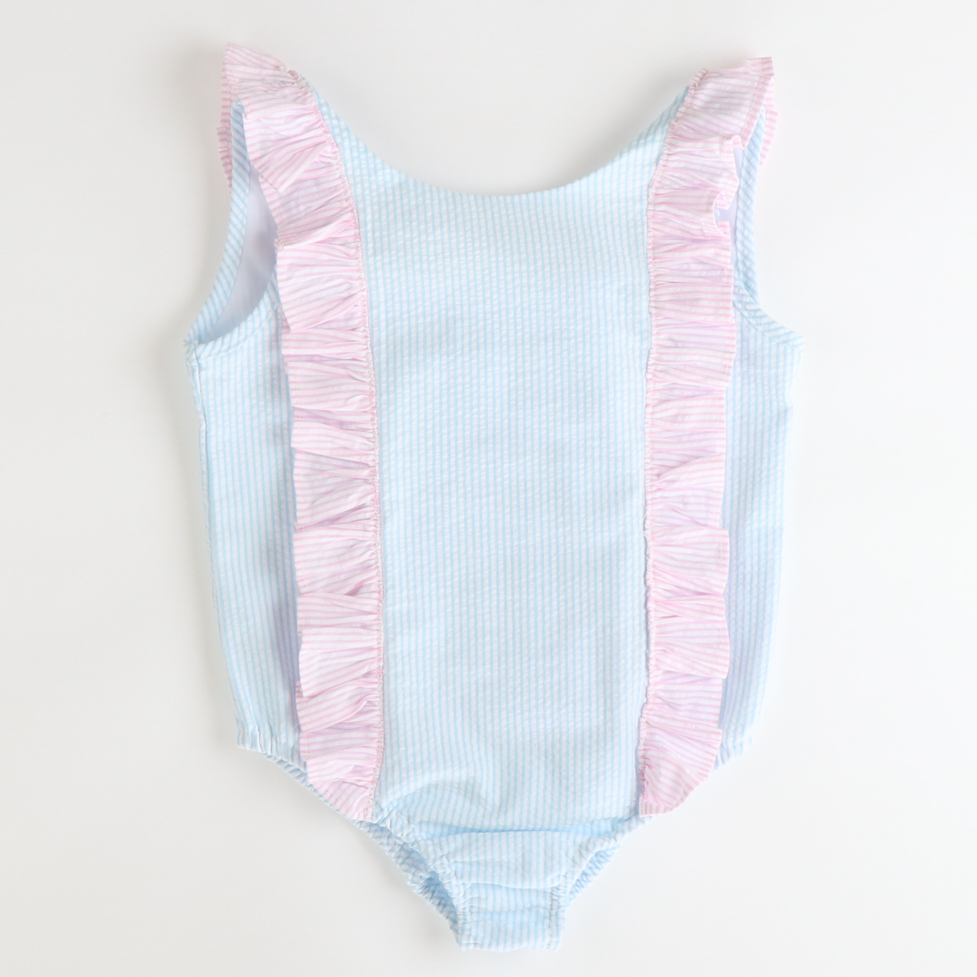 Ruffle Swimsuit - Sky Stripe Seersucker